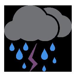 ماطر مع حدوث العواصف الرعدية