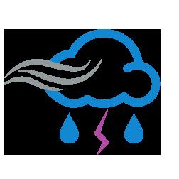 زخات أمطار رعدية مع رياح نشطة