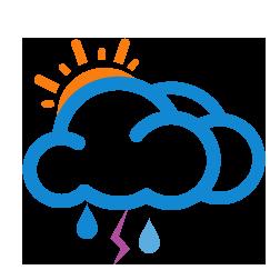 غالباً غائم مع أمطار رعدية خفيفة
