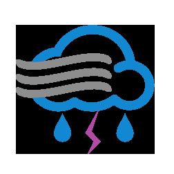 زخات أمطار رعدية مع ضباب