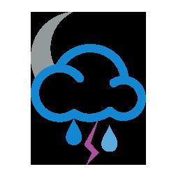 غائم جزئي مع أمطار رعدية خفيفة